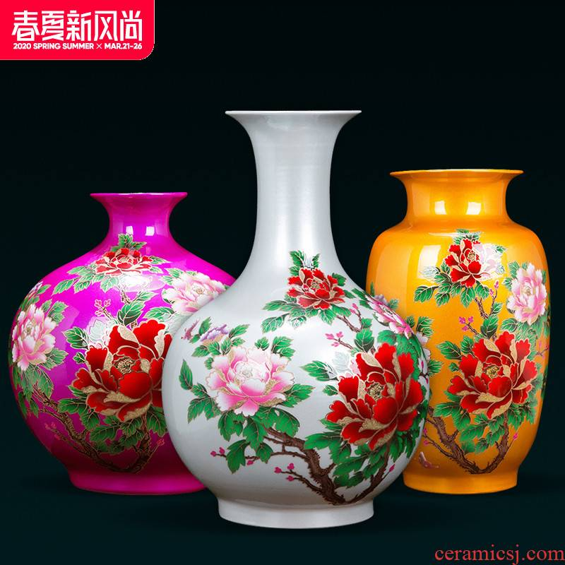 Jingdezhen ceramics flower vase of modern Chinese style household living room TV cabinet wine accessories furnishing articles