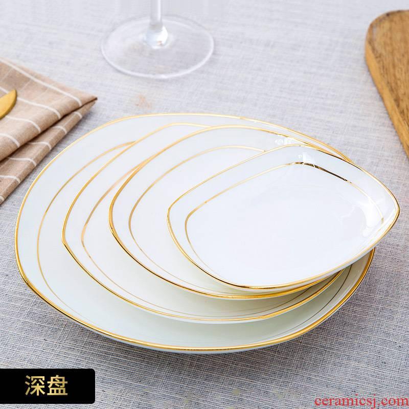 European ceramic plate creative up phnom penh square ipads soup plate household food dish plate jingdezhen porcelain western - style food tableware