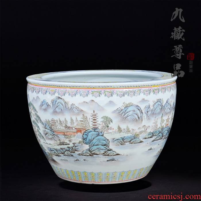 Jingdezhen ceramics with antique hand - made pastel landscape cylinder living room TV cabinet decorated handicraft furnishing articles