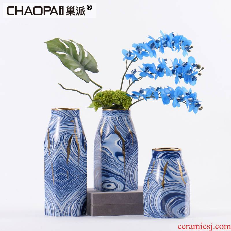 Modern Chinese style blue ceramic flower vases furnishing articles creative club hotel rooms soft adornment bedroom to study
