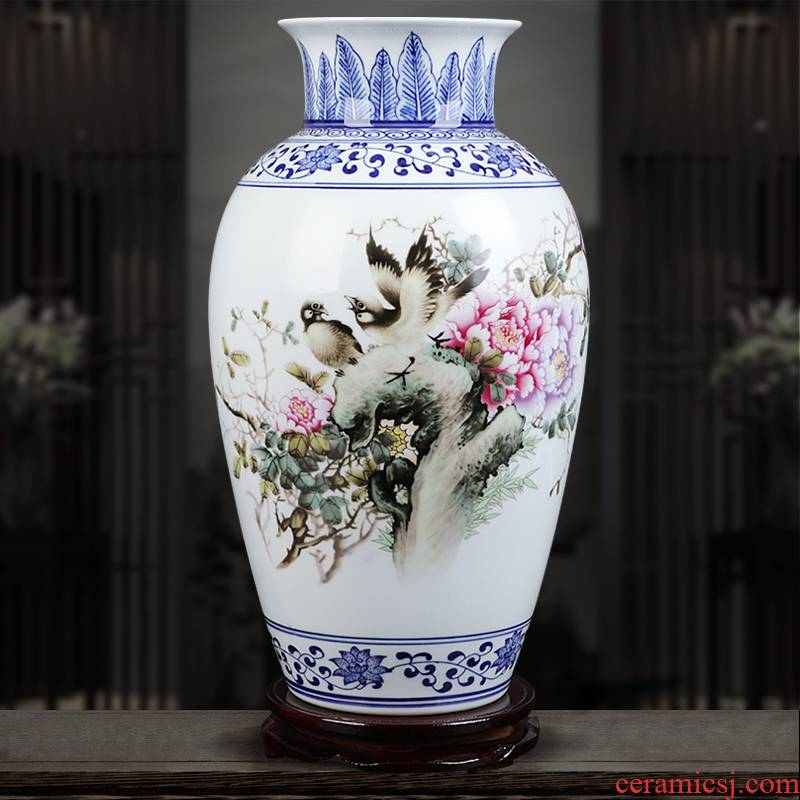 The Insert blue enamel vase blooming flowers famous jingdezhen ceramics hand - made home sitting room adornment is placed