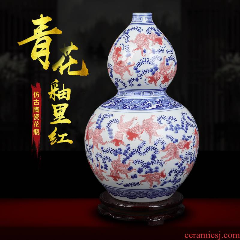 Jingdezhen ceramics antique vase blue - and - white youligong feng shui gourd home furnishing articles collectables - autograph sitting room adornment