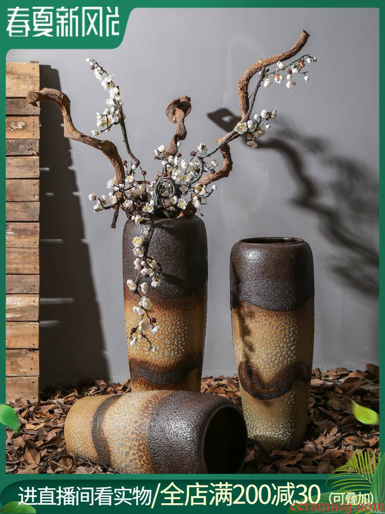 Jingdezhen creative large coarse pottery vase sitting room, dining - room ground ceramic furnishing articles Chinese flower arranging dried flower decorations