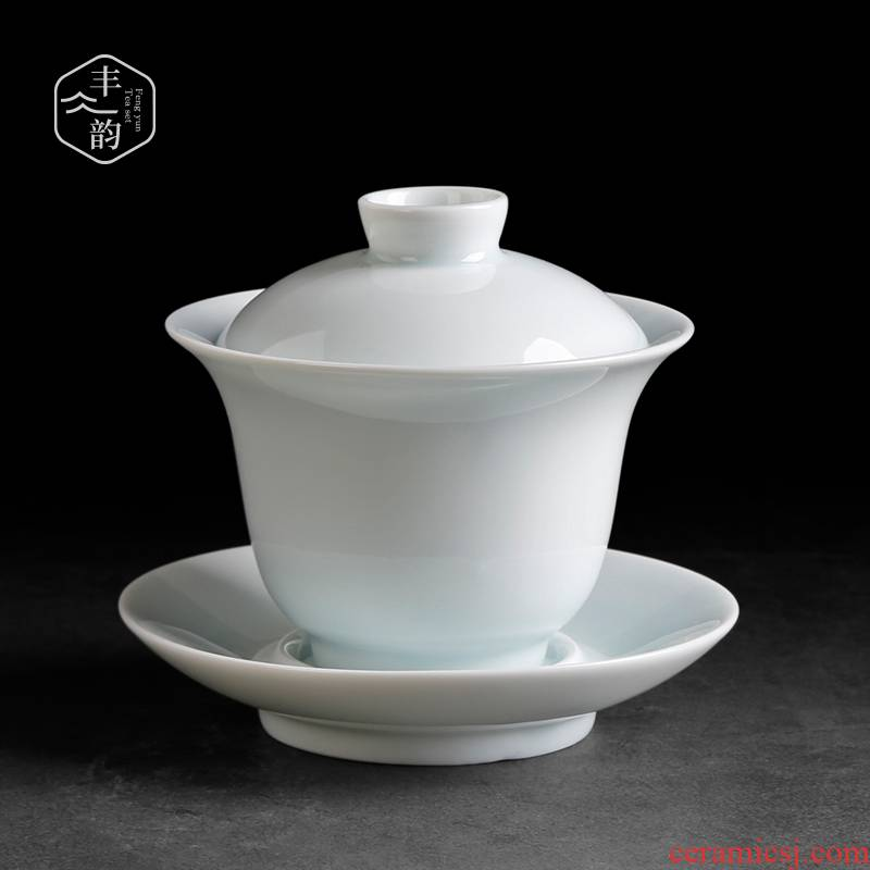 Celadon tureen tea only three large ceramic kung fu tea cup single household thin body worship the bowl cover cup by hand