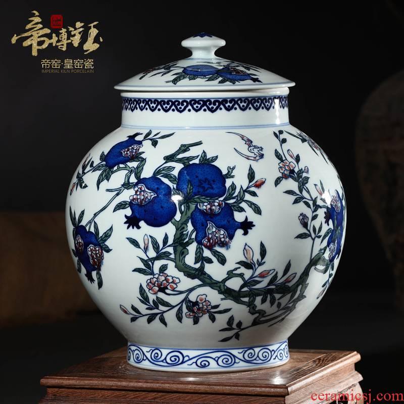 Antique hand - made jingdezhen ceramics up cover tank storage jar airtight jar of living room furniture decorative furnishing articles