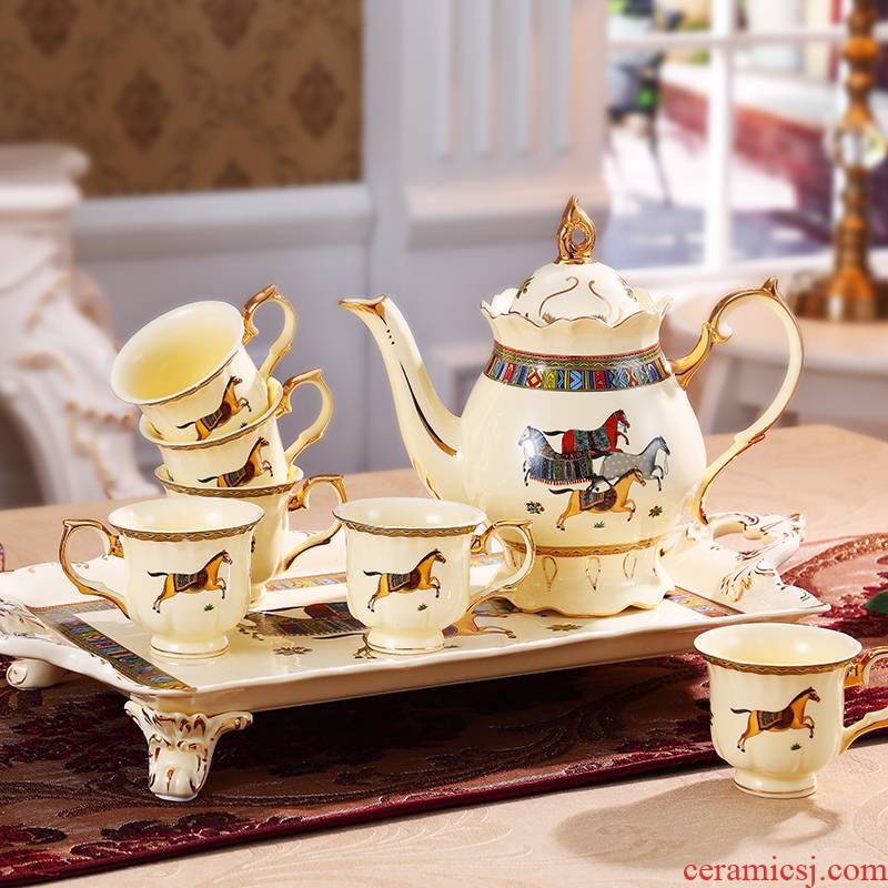 European style afternoon tea set suit small key-2 luxury home with tray was red cup teapot ceramic English coffee cup set