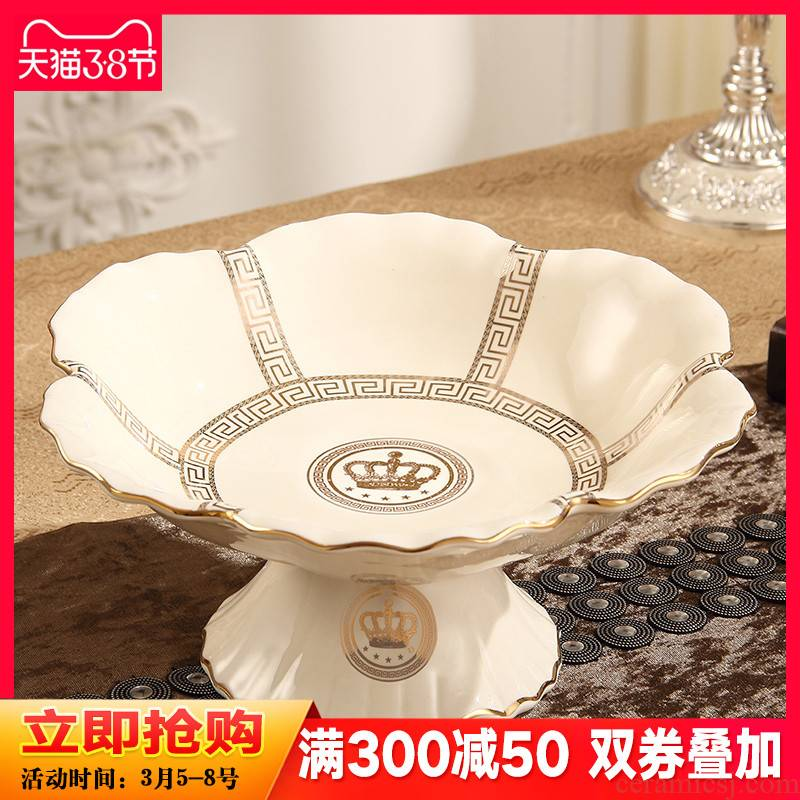 European fruit bowl ceramic bowl sitting room of modern creative household fruit bowl of dried fruit tray table decorations furnishing articles