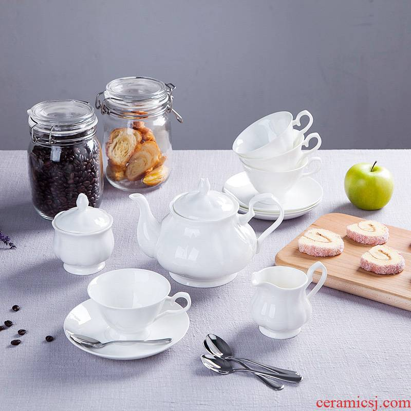 Jingdezhen British ceramic coffee cup pot suit creative white ipads China coffee cups and saucers spoon set