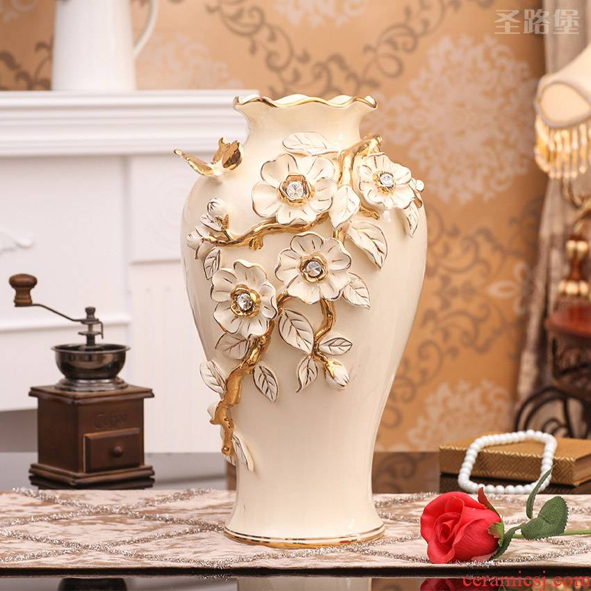 SAN road fort European ceramic dry flower vase furnishing articles furnishing articles sitting room flower arranging household act the role ofing is tasted porcelain decorative vase