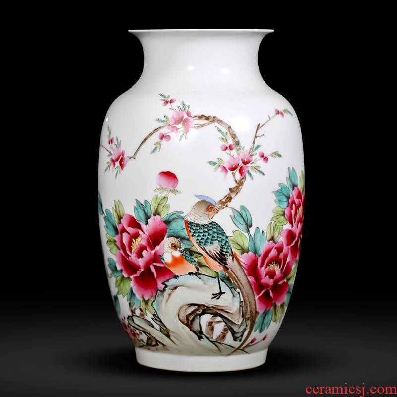 Famous master of jingdezhen ceramics hand - made pastel peony vases, flower arranging new Chinese style household adornment sitting room