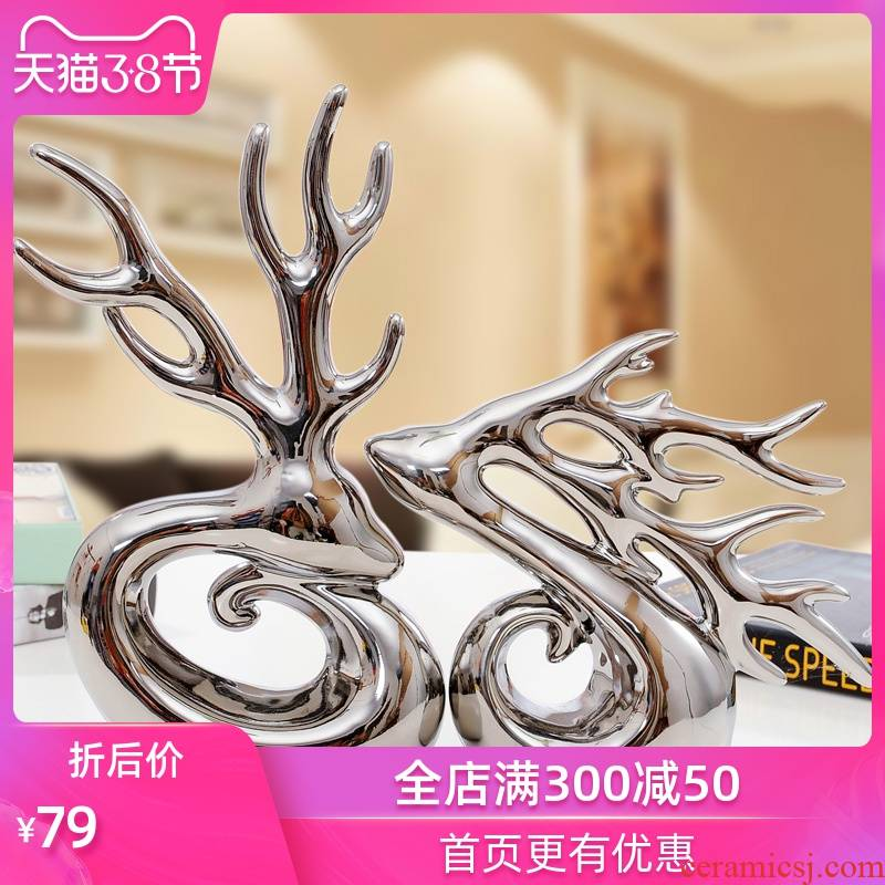 Modern Chinese ceramic handicraft living room TV cabinet ornament wedding gifts creative furnishing articles for antlers lovers