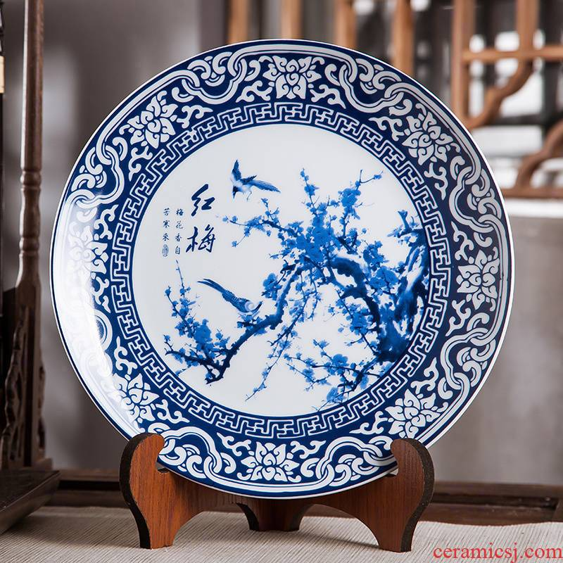 Jingdezhen blue and white hong mei ceramics furnishing articles hang dish of Chinese arts and crafts wine home decoration decoration plate