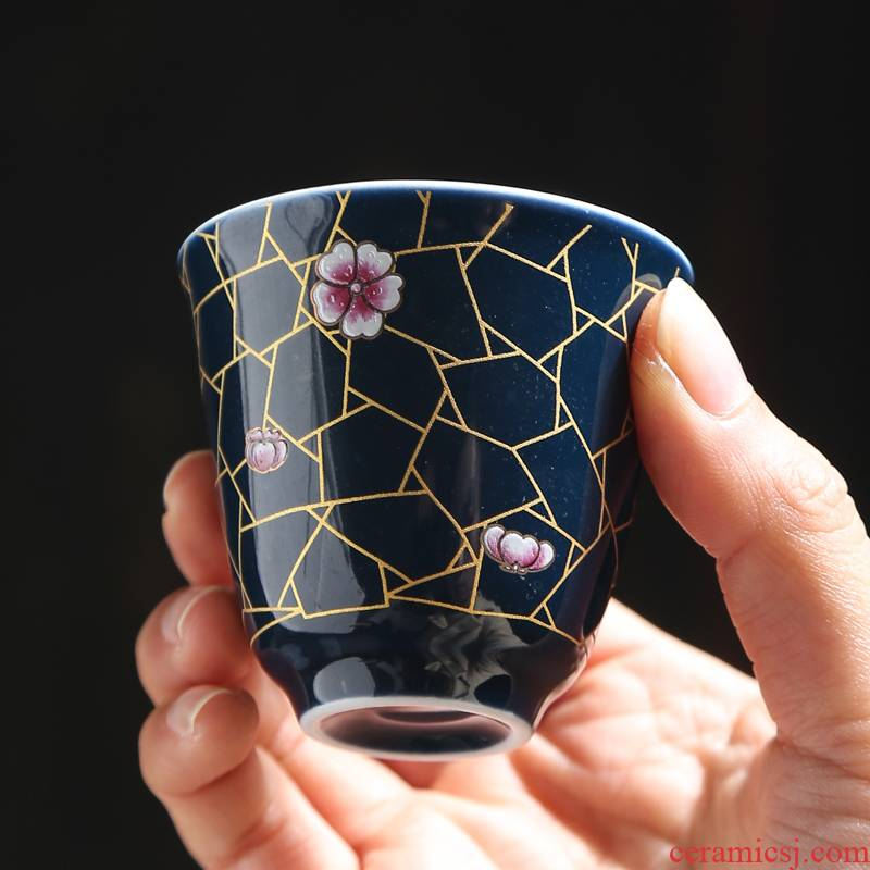 Cup of kung fu master Cup but small Cup single jingdezhen ceramic tea set to use only hat to a Cup of tea light sample tea Cup