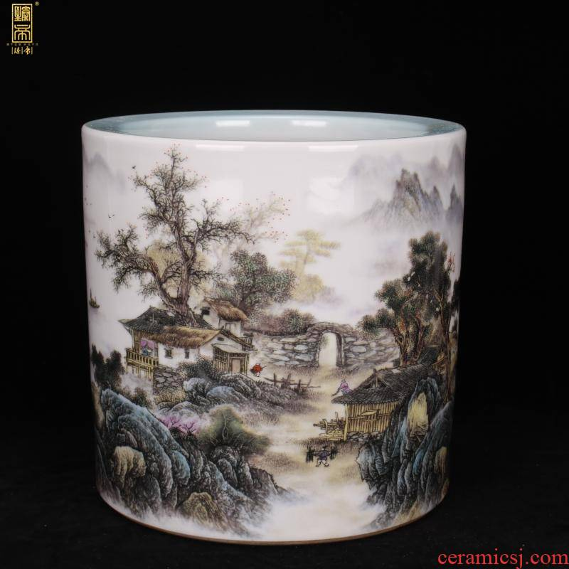 Yongzheng of jingdezhen copy antique porcelain points color landscape family big brush pot pen sea four desk office furnishing articles