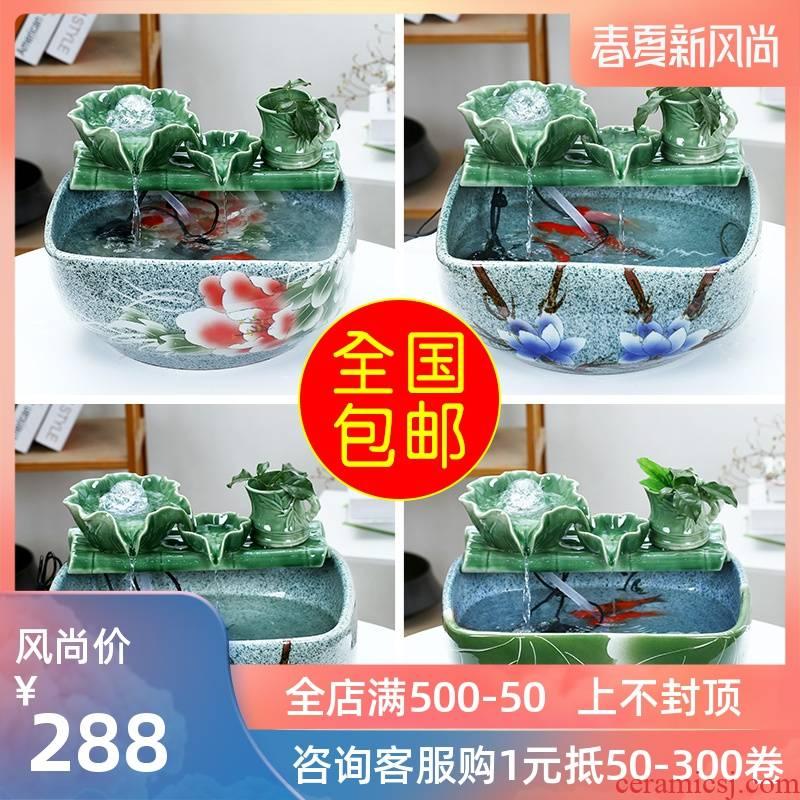 Jingdezhen ceramic aquarium water circulating water of small tortoise cylinder aquarium goldfish bowl small sitting room adornment