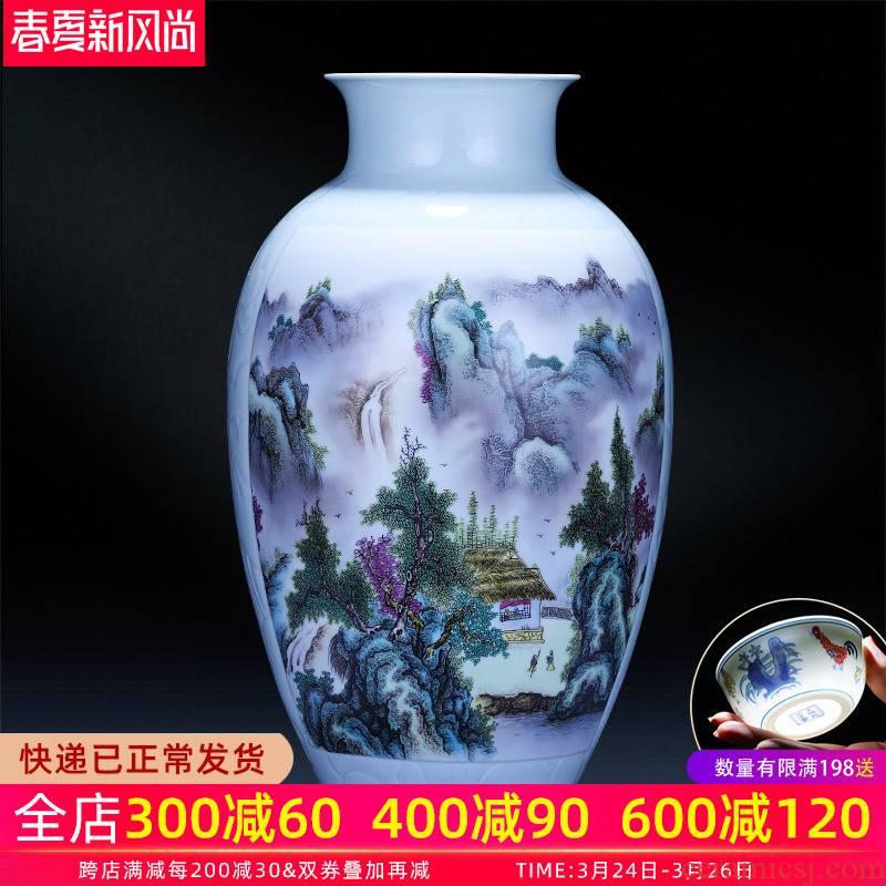 Jingdezhen ceramics pastel landscape of large vase large modern Chinese flower arranging sitting room TV ark, furnishing articles