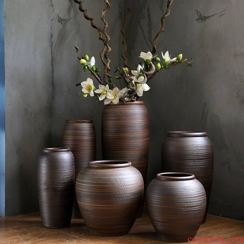 Retro nostalgia manual coarse some ceramic jar jar flower implement do old archaize flowerpot jingdezhen ground vases, flower receptacle