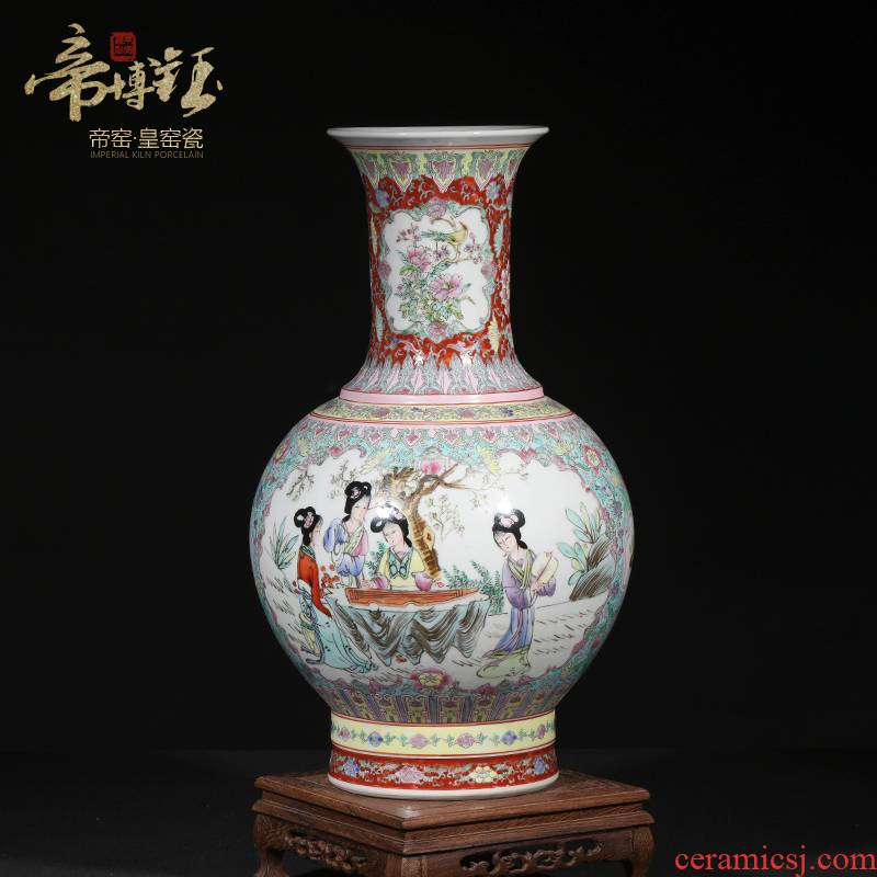 Jingdezhen ceramic antique hand - made colored enamel window ladies TuShang bottles of sitting room home furnishing articles