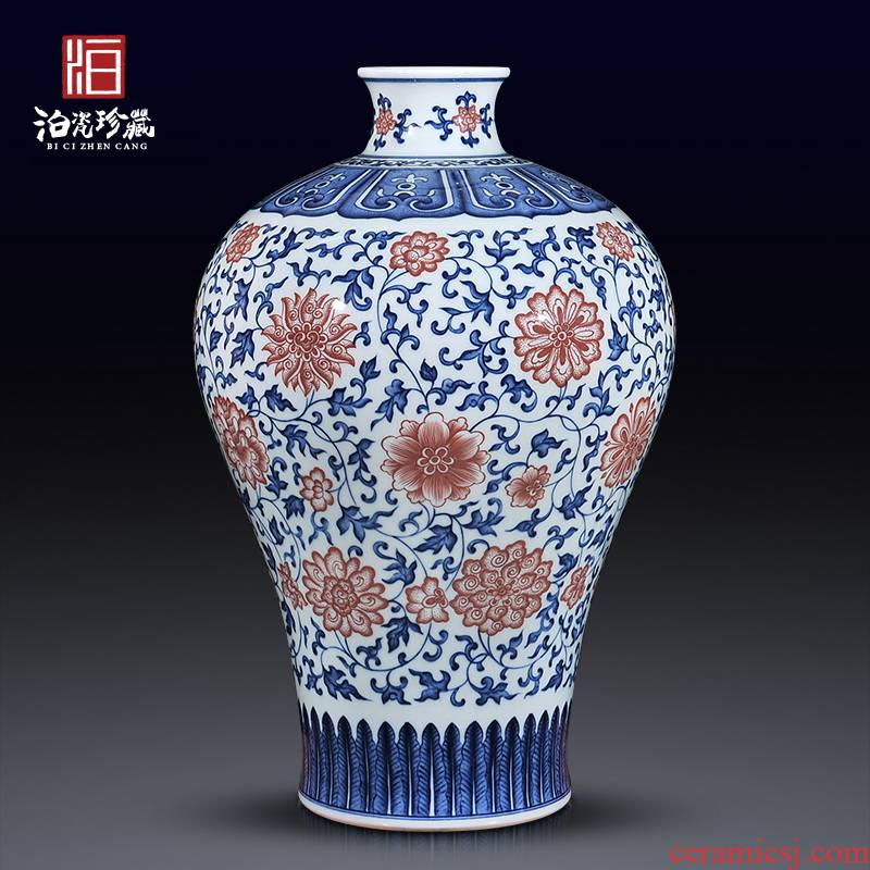 Jingdezhen ceramics imitation the qing qianlong blue - and - white youligong tangled lotus flower vases, Chinese style household decorations furnishing articles