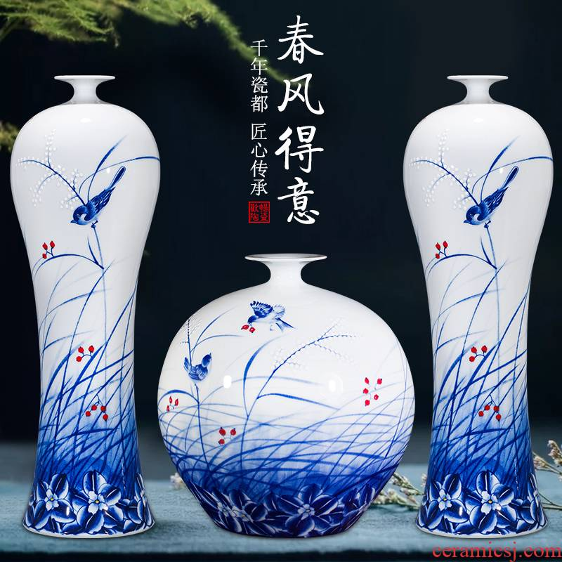 Jingdezhen ceramics furnishing articles hand - made large blue and white porcelain vases, flower arrangement sitting room of Chinese style household decorations Chinese wind