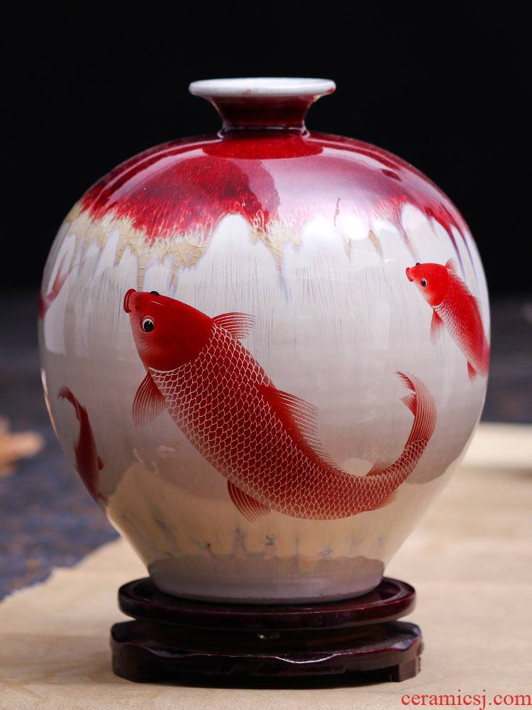 Archaize of jingdezhen ceramics up crack glaze vase furnishing articles flower arranging new Chinese style household wine sitting room decoration