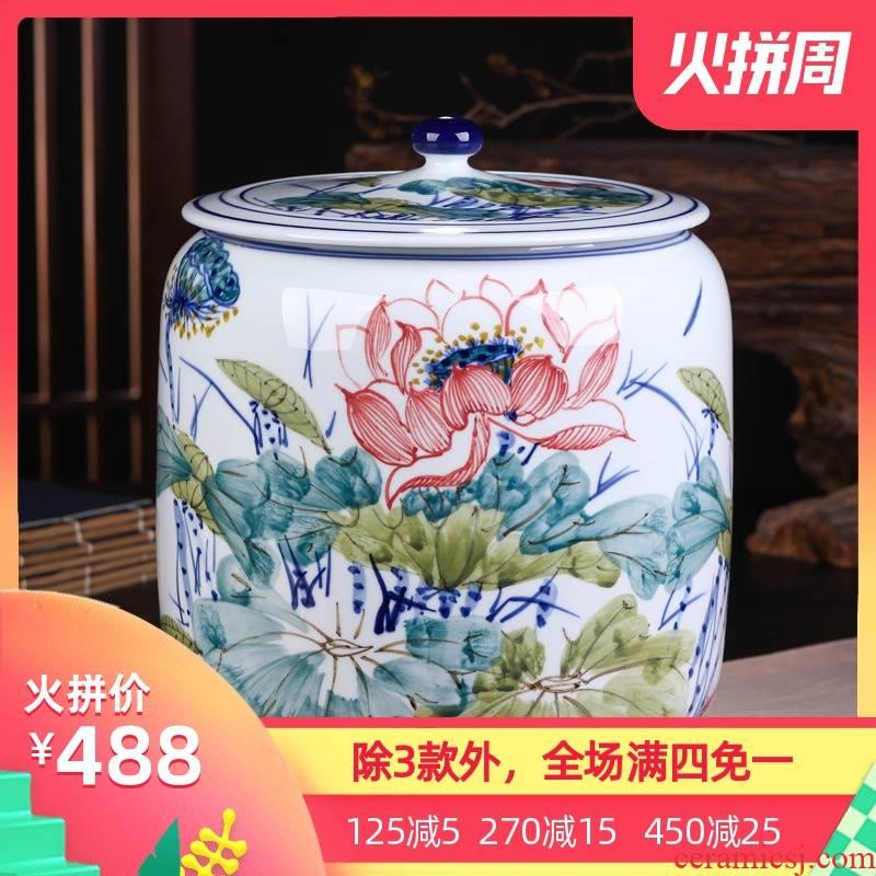 Jingdezhen ceramic packing gift box pu 'er tea pot large household tea cake tin general sealed as cans of storage tank