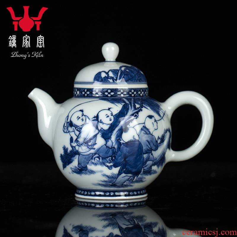 Clock home up teapot single pot of jingdezhen blue and white maintain hand - drawn characters large large capacity domestic teapot the teapot