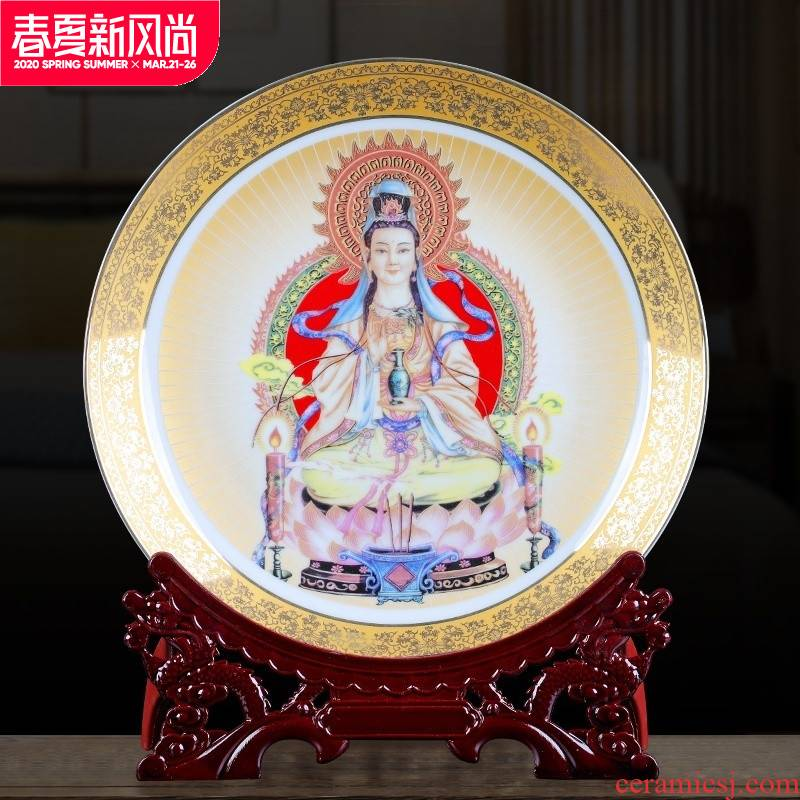 Jingdezhen ceramics gold Buddha like guanyin sitting room decorate dish hang dish by dish household furnishing articles and crafts