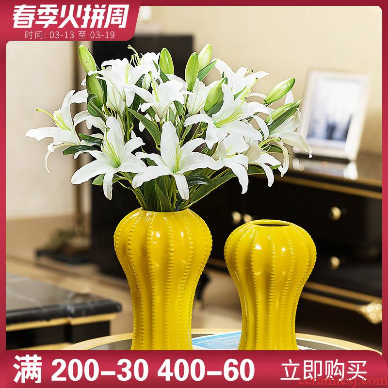 Boreal Europe style home porch TV cabinet ceramic vases, furnishing articles sitting room of I and contracted flower arrangement table decorations