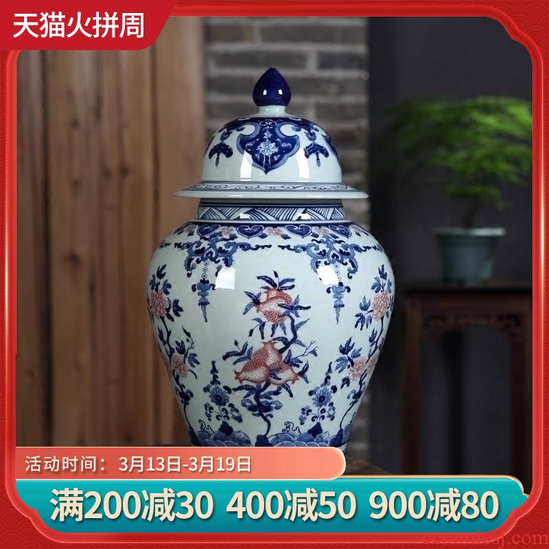 Jingdezhen ceramics furnishing articles hand - made youligong general canister vases, sitting room of Chinese style household decorations