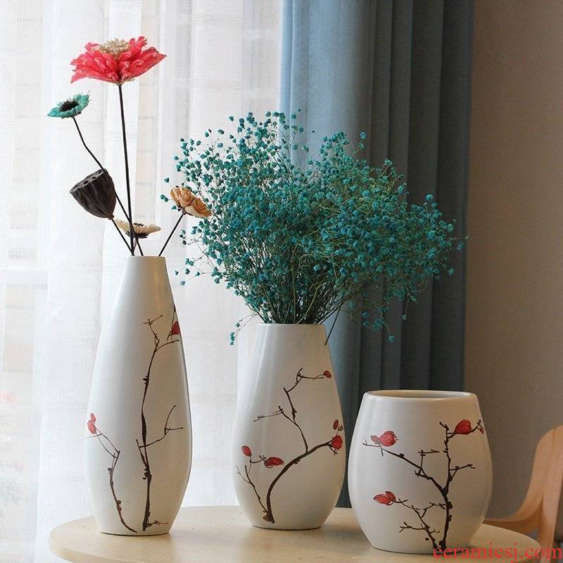 I and contracted rural pure hand - made ceramic vase three - piece between example household act the role ofing is tasted decorative porcelain furnishing articles