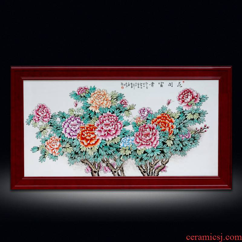 Jingdezhen hand - made ceramic plate painting enamel peony wall hanging teahouse study is decorated metope hangs a picture hang mural box