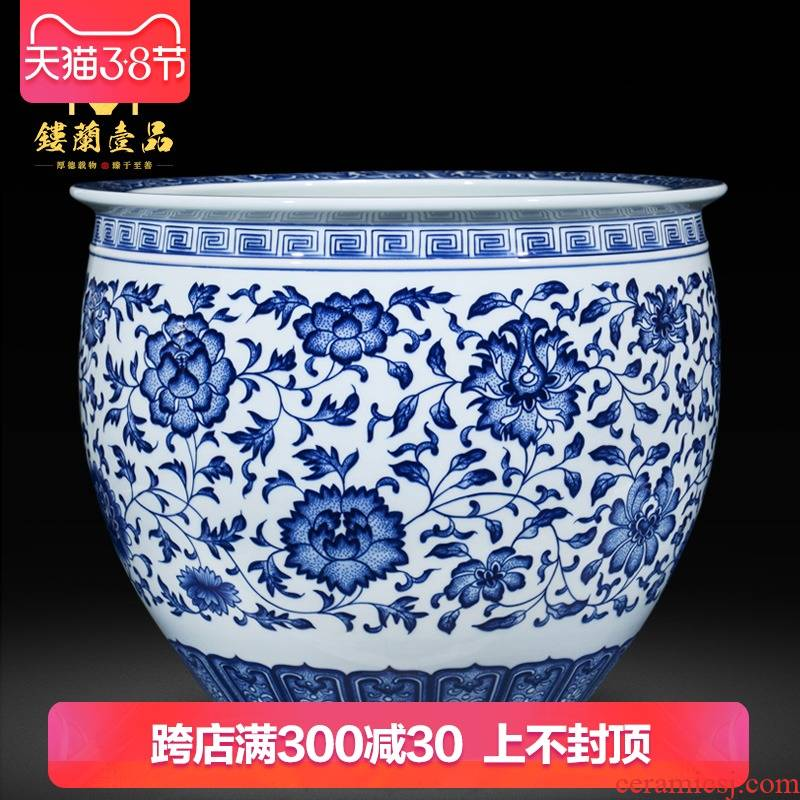 Jingdezhen ceramic high copy qianlong blue tie up lotus flower pattern painting and calligraphy cylinder of new Chinese style living room vase collection furnishing articles