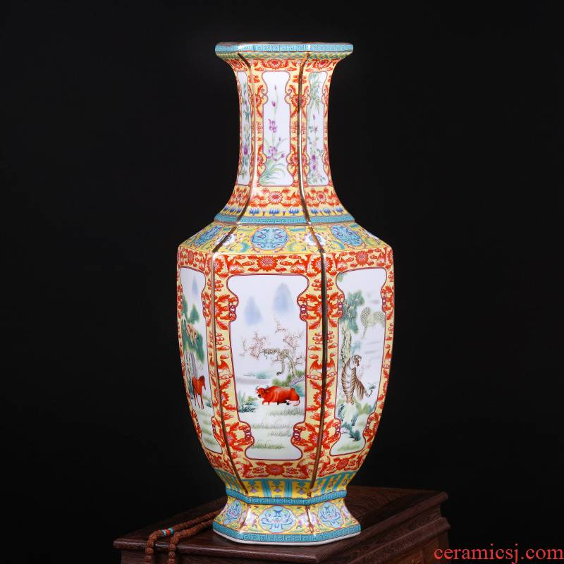 Jingdezhen ceramics imitation qianlong archaize floor big vase furnishing articles classic Chinese style living room porch decoration