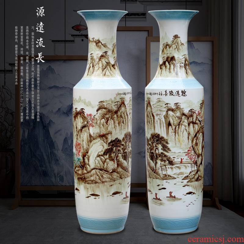 Jingdezhen hand - made has a long history in the traditional Chinese painting landscape ceramic in the sitting room of large vase stores Chinese penjing products