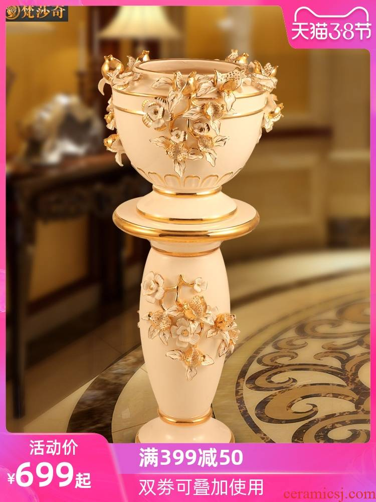 European ground vase large flower arranging ceramic flower pot large Roman column home sitting room decorate house furnishing articles
