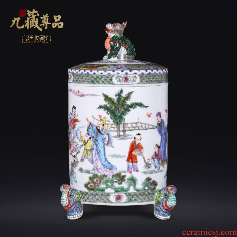 About Nine sect Buddha tasted jingdezhen manual archaize pastel beast foot kirin storage tank Chinese ceramic vase decoration