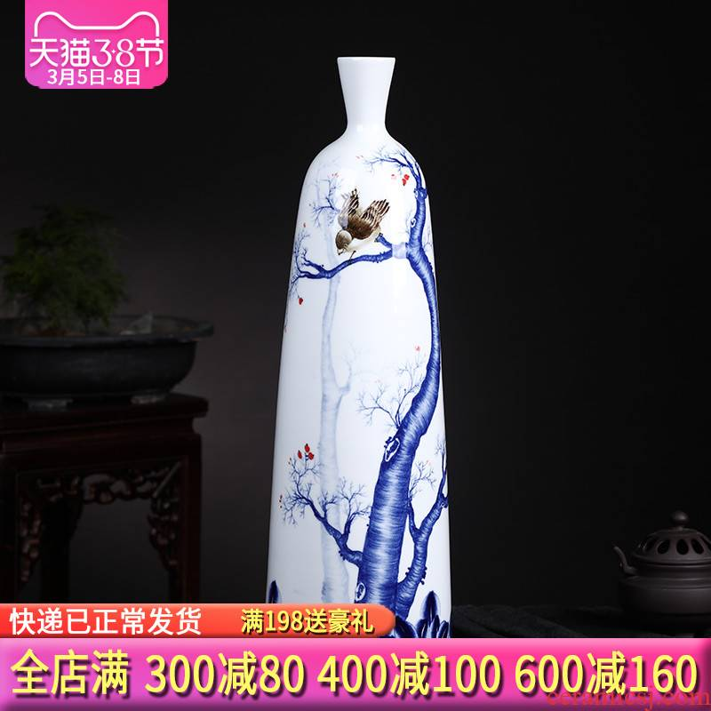 The Master of jingdezhen ceramics hand - made of blue and white porcelain vases, the sitting room porch ark of new Chinese style household act the role ofing is tasted furnishing articles