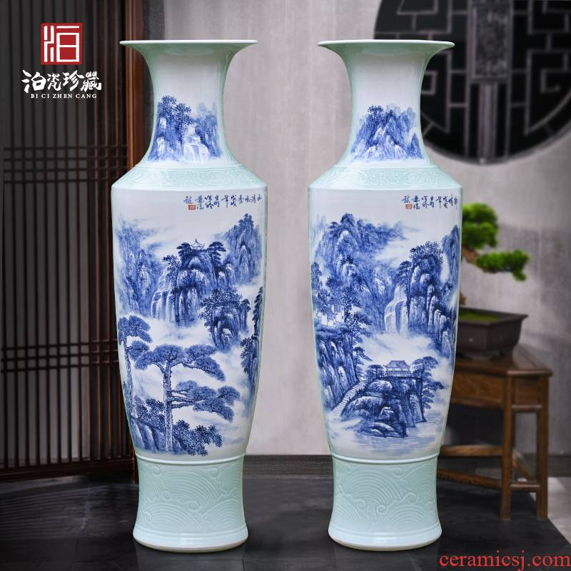 Jingdezhen blue and white ceramics of large vases, new Chinese style villa living room decoration to the hotel hotel furnishing articles
