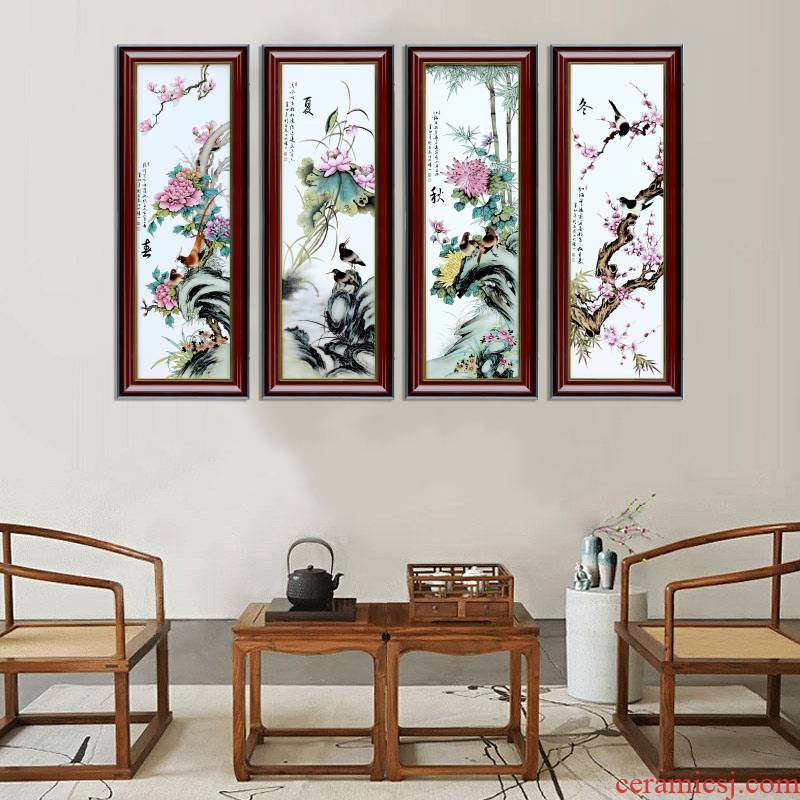 Jingdezhen porcelain plate spring, summer, autumn and winter four screen painter in the sitting room adornment of modern study office hang a picture