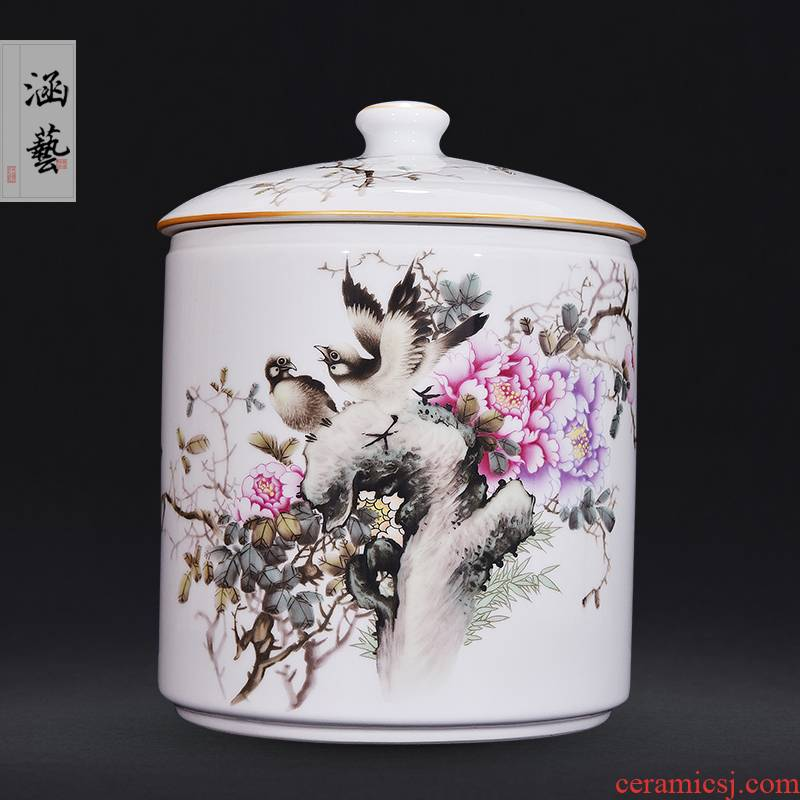 Jingdezhen ceramic famille rose straight blooming flowers tea pot Chinese style living room home decoration furnishing articles craft gift