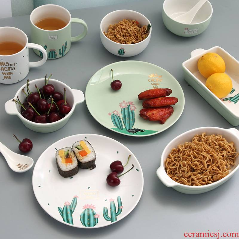 Love graces jingdezhen creative move household ceramics tableware American style dishes suit cactus pattern