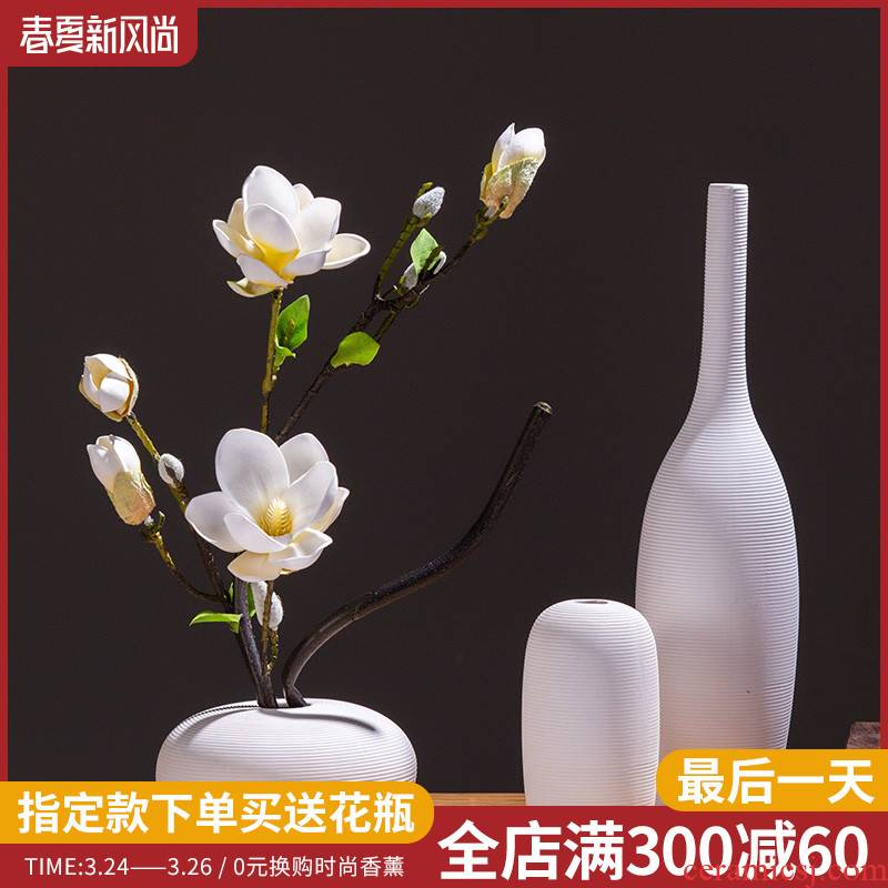 Creative Nordic white ceramic vase furnishing articles sitting room indoor household soft outfit wine accessories dried flower arranging flowers floral outraged