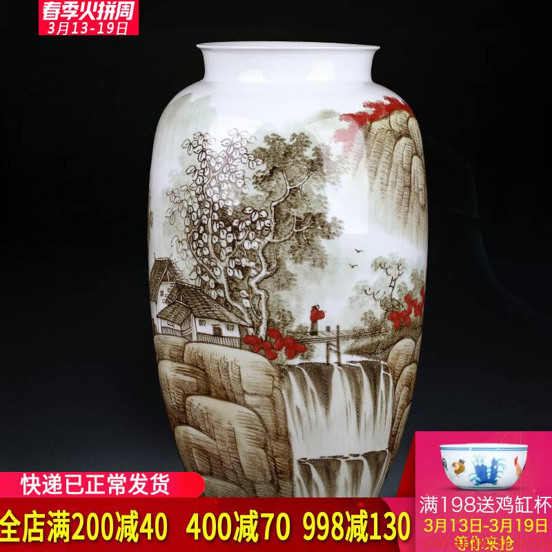 Jingdezhen ceramics famous hand - made vases, flower arranging large Chinese porcelain of sitting room home furnishing articles