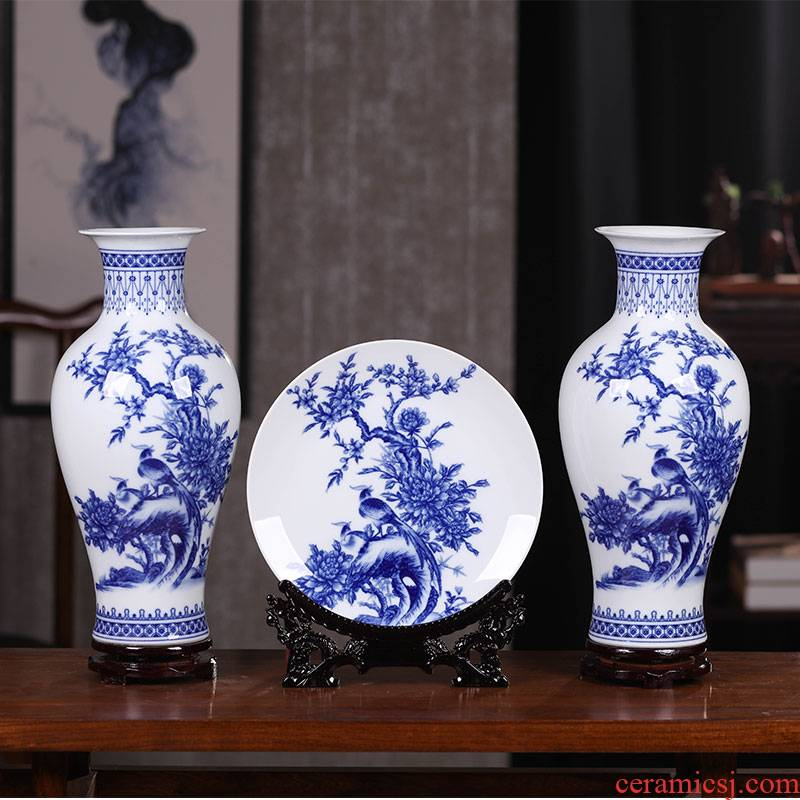 Jingdezhen blue and white porcelain ceramic vases, small 3 sets of new Chinese style furnishing articles wine decorations sitting room flower arrangement