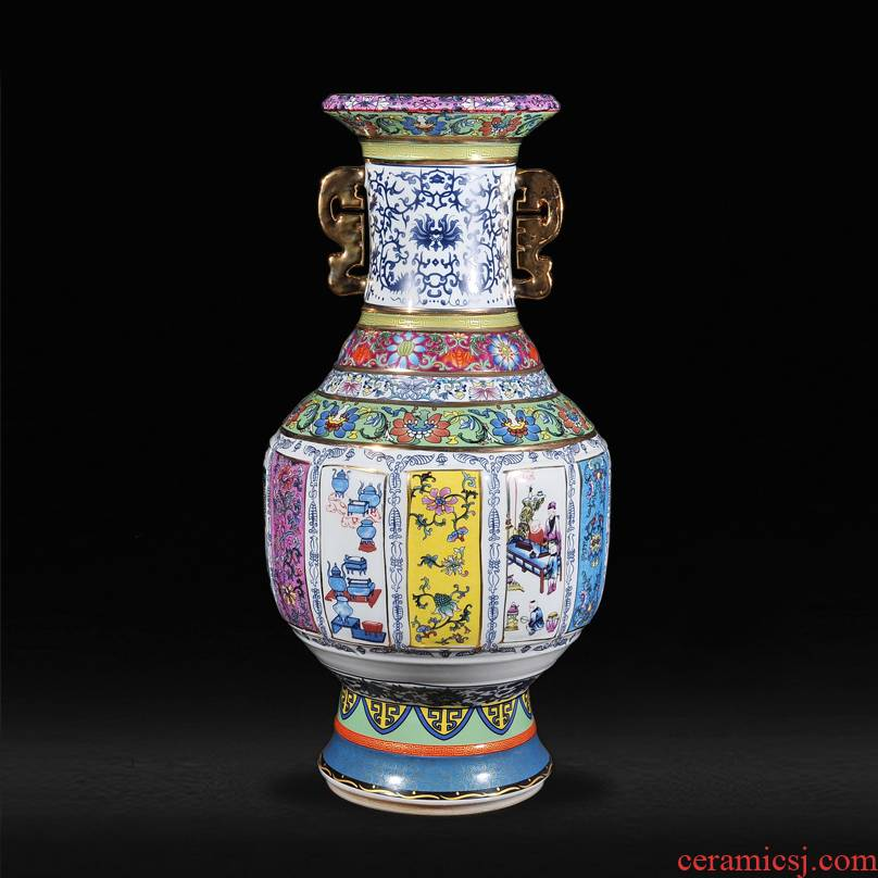 Antique vase ears of jingdezhen ceramics up fashion furnishing articles housewarming landing sitting room household act the role ofing is tasted