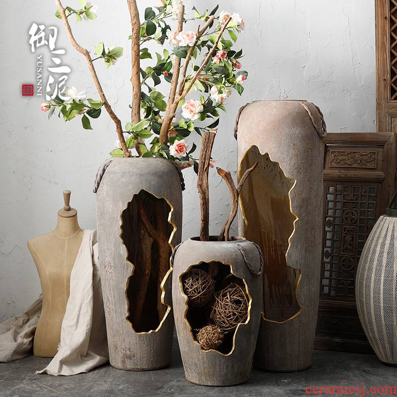 Ancient pottery decorative perforated hollow out water scene big ceramic vase light key-2 luxury ground sitting room dry flower arranging flowers is placed