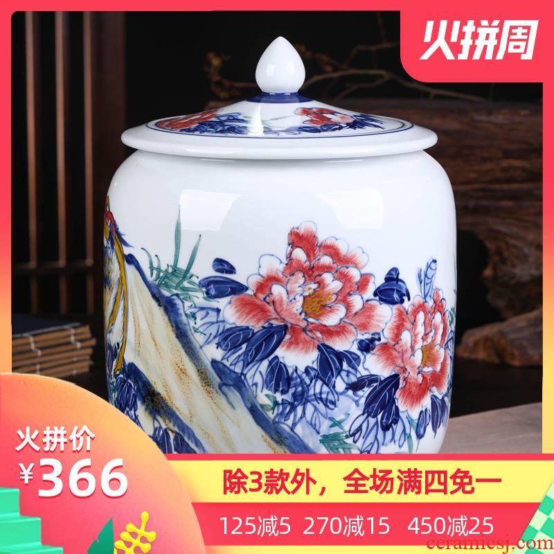 Jingdezhen ceramic POTS awake pu 'er tea pot of tea tea pot general box sealed storage tank is large