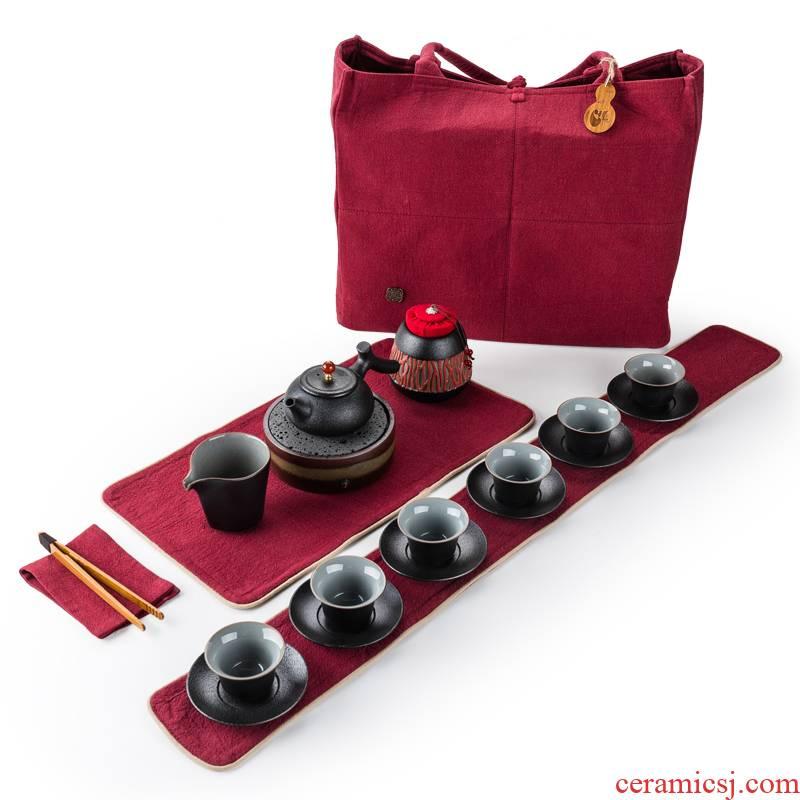 True sheng kung fu tea set suit of black ceramic teapot teacup restoring ancient ways of a complete set of Japanese coarse TaoChan tea tea