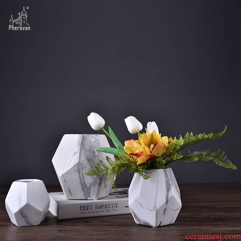 Nordic marble, ceramic vase example room living room table dry flower arranging flowers porcelain insulator geometry creative furnishing articles